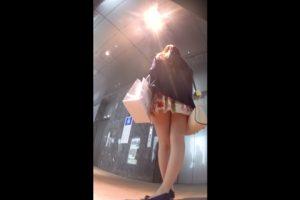 デパートに入っていく花柄のスカートを履いたお姉さんの後を付けてスカートの中を撮影